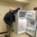 The Chef  Mcgough and his new refrigerator.